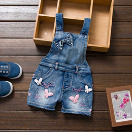 Wholesale Jumpsuit Jeans For Baby Girl - Wholesale-Summer sweet butterfly print Denim Girl Overalls Kids Short Jeans Pants For 12M-6Y Baby clothing set Children's Jumpsuits
