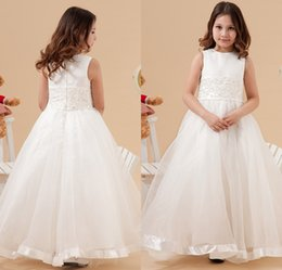 Wholesale Embellished Lace Wedding Dresses - Ivory Flower Girls Dresses 2015 Latest Eiffelbride with Embellished Bling Bling Beaded Lace Applique Princess Organza Girls Pageant Gowns