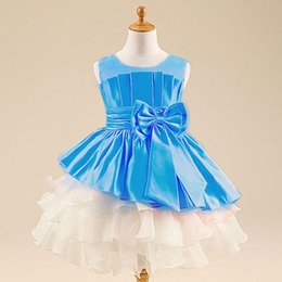 Wholesale Girls Summer Clothes Retail - 1pc retail girls chiffon Big bowknot dresses childrens clothing dress party High-grade Princess dresses free shipping certified by CTI-USA