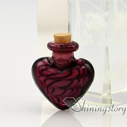 Wholesale Wholesale Small Glass Bottles Jewelry - heart murano glass handmade murano glass bottle for necklace small urns for ashes pet urn jewelry small urns for ashes pet urn jewelry