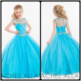 Wholesale Evening Gown Dresses For Kids - Pageant Dresses for Little Girls Sky Blue Sheer Jewel Neck Ball Gown Tulle Kids Evening Gowns Zipper Girls Pageant Dresses