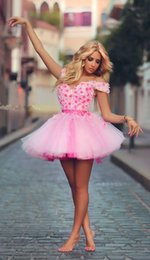Wholesale Cute Summer Cocktail Dresses - 2016 Said Mhamad Arabic Dresses Cute Cap Sleeve Appliques Pink Mini Short Tulle Party Cocktail Evening Prom Homecoming Dress
