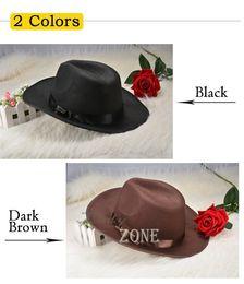 Wholesale Wholesale Authentic Hats - Wholesale-Hot Selling 2015 New Authentic Wool Fedoras jazz hat fashion hat dance advertising cap male women's wide brim hat 38