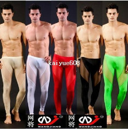 Wholesale Tight Pants For Men - any 1pcs mens see through pants pajamas long pants tight sleepwear sexy Sleep Bottoms for men trunk sleep shorts mesh underwear