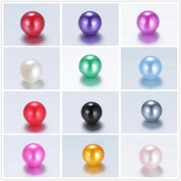 Wholesale 8mm Plastic Pearls - Mix colors 8mm Teal Pearl Spacer Loose Beads For floating charms Jewelry Necklace Bracelet Making 1000pcs lot