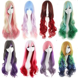 Wholesale Pink White Mix Wig - 2015 Fashion high temperature cosplay wigs wire can be hot dyed fight color wig Cosplay wholesale lace wig girl long hair wig free shipping