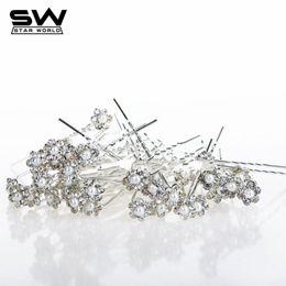 Wholesale Diamante Flower Pins - 40PCS Wedding Bridal Pearl Hair Pins Flower Crystal Hair Clip Bridesmaid Jewelry Crystal Rhinestone Diamante HairPins for women