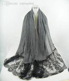 Wholesale Shawl Lace Hijab - Wholesale-(free shipping)New lblack lace muslim shawl ,hijab ,scarf 180*100cm viscose can choose colors