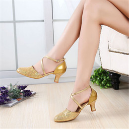 Wholesale Girls Glitter Dance Shoes - Women Girls salsa tango ballroom dance shoes with heels 5.5 cm US 4-10.5 KAQ0067
