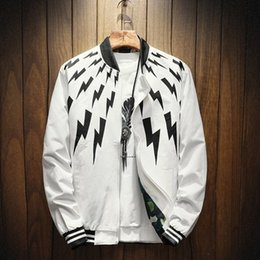 Wholesale baseball long sleeves - Men's cotton jacket casual collar jacket Korean version of the Slim printed baseball clothing trend on the clothes autumn men