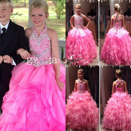 Wholesale Heavy Gowns - Pageant Gown For Girls Fuchsia Organza Heavy Beaded Halter Backless Full length Ball Gown Girl's Pageant Dresses
