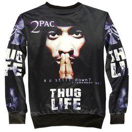 Wholesale Winter Women Tee - Hot autumn and winter fashion women men 2PAC Tupac hoodie pullover sweatshirt ROCK Thug Life Clothing Tee 3D Sweatshirts