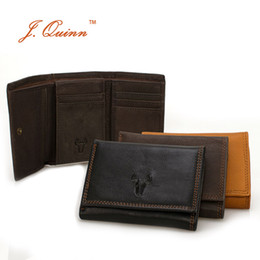 Wholesale Men Genuine Trifold Leather Wallet - Wholesale- J.Quinn Men Hasp Trifold Mini Wallets with Flap Card ID 11 Card Holder Genuine Cow Leather Black Mens Short Wallet Small New