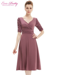 Wholesale Ever Pretty - Wholesale-Short Sexy Women Casual Dresses 2015 3 4 Sleeves New Fall Winter Ever Pretty HE03632RD V Neck Red High Stretch Plus Size Dresses