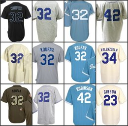 Wholesale Authentic Shorts - 32 Sandy Koufax 42 Jackie Robinson 23 Kirk Gibson 34 Fernando Valenzuela Jersey Men's Authentic Throwback Mitchell Ness Baseball Jerseys