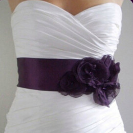Wholesale Handmade Sashes - 2015 Vintage Bridal Sash Grape Purple Handmade Flowers Beads Back Tie Adjustable Wedding Dress Belt Brides Accessaries