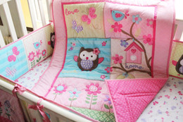 Wholesale Baby Bumper Bedding - 8pcs Baby Kit Crib Cot Bedding Sets Comforter Bumpers Sheet Dust Ruffle Nappy Bag Pink Birdie Owls Butterflys Flowers for Girls