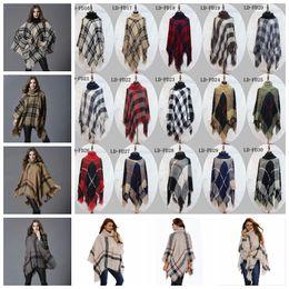 Wholesale Vintage Cardigans Women - Plaid Poncho Grid Sweater Wraps Women Cloak Coats Vintage Shawl Cardigan Tassel Fashion Knit Scarves Tartan Winter Cape Blankets YYA764