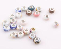 Wholesale Diy Loose Ceramic Beads - 14mm Big Hole Ceramic Porcelain Loose Beads fit European Jewelry Bracelet necklace Charms DIY JJAL ZBE303