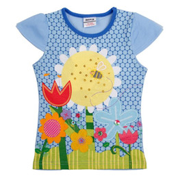 Wholesale Nova Tunic - Nova kids brand children clothing tunic top sunflowers and flowers embroidery summer short sleeve T-shirt for baby girls K3970#