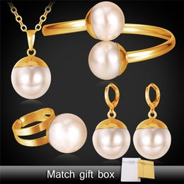 Wholesale Indian Wedding Necklace Sets - U7 Pearl Necklace Set Women Jewelry New Trendy Platinum 18K Real Gold Plated Necklace Bracelet Earrings Ring Bridal Jewelry Sets