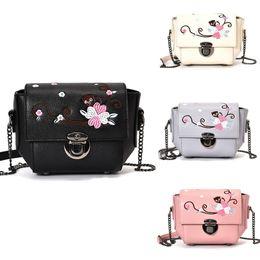 Wholesale Mini Shoulderbag - New Women Bag Messenger Bag Embroidery Chain Shoulderbag PU Leather Girls Flower Small mini Crossbody bag