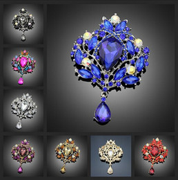 Wholesale Vintage Brooch Flower Pin - Vintage Style Big Water Drop Brooches For Women Jewelry Colorful Flower Brooch Pin Rhinestone Crystal Broach Wedding brooch Free Shipping