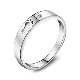 Wholesale Men Ring Design Stone - Wholesale real 925 Silver Ring Jewelry with Lovely Foot Print Modeling for Love Fashion Design for Men & Women, Selling Finger Rings WR109