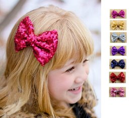 Wholesale Large Barrettes Colors - Baby barrettes new Europe and cute girls children sequins hairpin large bow hair jewelry 21 colors