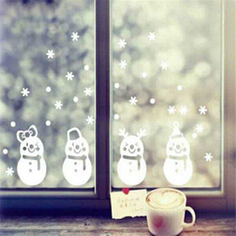 Wholesale Xmas Stickers For Windows - Snowflake Wall Stickers Christmas Shop Window Snowman Stikers Xmas Home Decor Mural New Year Decoration PVC Removable Wholesale LDH57