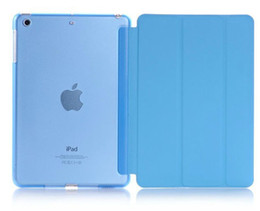 Wholesale Ipad Mini Hard Clear Case - 3 Fold Slim Flip Smart Case Cover Transparent Clear Back Hard PC For Apple iPad 2 3 4 5 5 Air Air2 Mini Mini2 Mini3 With Sleep Wake UP Stand