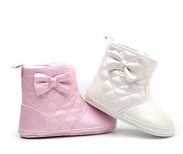 Wholesale Export Baby - Wholesale-[winter cotton shoes] pearl pink boots Foreign trade export baby shoes Soft bottom toddler shoes