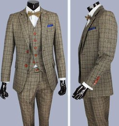 Wholesale Men S Suits Plaid - retro Brown plaid groom tuxedos custom made slim fit Wedding Suits for men Blazers tailor made suits 3 piece