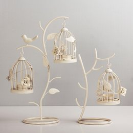 Wholesale Vintage Bird Cage Decor - Moroccan Style Candle Stick Candleholder Vintage Tea Light Candle Holder Hollow Bird Cage High Quality Cheap Candlestick Wedding Decor Gifts