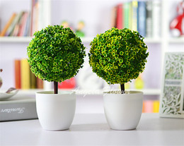Wholesale White Vase Sets - Wholesale- Artificial plants ball bonsai can washes decorative green plants for home decoration 4 colors 1 set ( plants+vase)