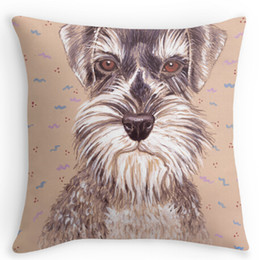 Wholesale 18x18 Pillow Cases - Wholesale-Miniature German Schnauzer dog zippered Pillow case cushion cover (two sides) for 12x12 14x14 16x16 18x18 20x20 24x24 inch