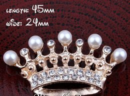 Wholesale Pearls Flatback - 5%off (60pcs lot) 2 Colors Handmade Clear Metal Rhinestone Pearl Crown Bling Alloy Flatback Tiara Buttons For Wedding Embellishment