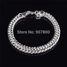 Wholesale Cheap Silver Chain For Men - Cheap wholesale 10MM 925 Silver Figaro Link Bracelet Fashion Jewelry for men Top Quality