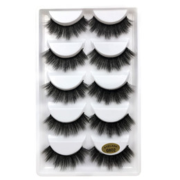 Wholesale Party Set Ups - 5pairs set 3D Mink False EyeLashes Thick Plastic Black Cotton Full Strip Fake Eye Lashes For Party Cosmetic Make Up Tool With Box G800