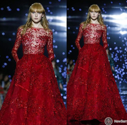 Wholesale Elie Saab Haute - Red 2015 Prom Dresses Sheer Elie Saab Formal Evening Gowns Crew Neck Long Sleeves Sequins Beading Haute Formal Celebrity Dresses Custom Made
