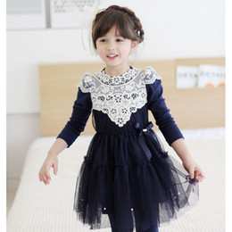 Wholesale Mermaid Style Flower Girls Dress - 2015 Spring Autumn Korean Fashion Girl Flower Dress Cotton With Lace Sides Bow Girl Party Dress Girl Dress C001