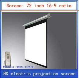 Wholesale Electric Projector Screen Remote - Wholesale-72-inch projection screen \16:9 screen\home theater projector screen \ HD projector screen\ electric curtain \ Wireless Remote