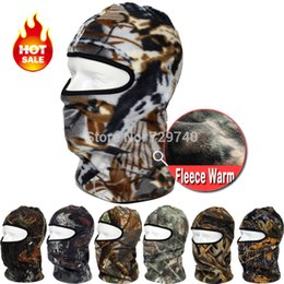 Wholesale Mask Camo - Wholesale-New Camo Motorcycle Thermal Fleece Balaclava Neck Warmer Masks Outdoor Sports Cycling Cap Windproof Winter Ski Full Face Mask