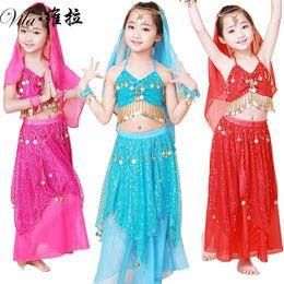 Wholesale Kids Indian Dance Costumes - Child Belly dance costume clothes wear kids dance child children gift indian dance 4pcs Top&Skirt&Headband&Bracelet,5 colors.