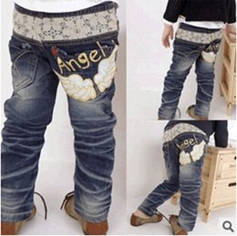 Wholesale Pants For Baby Girls - Wholesale-baby jeans 2015 autumn and winter children's clothing for boys and girls angel denim trousers small boy pants ca431