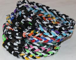 Wholesale Ge Titanium Necklaces - Free shipping by DHL 3 Ropes Tornado Titanium Sport Necklaces X45 Athletes Energy Triple Necklace flat clasp GE