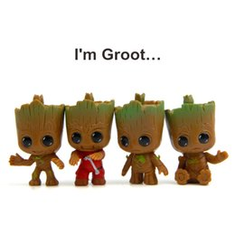 Wholesale Cake Set Toys - Guardians Of The Galaxy Toys 4pcs set New Cute Tree Man Baby Groot PVC Action Figures Toys Cartoon Cake Doll Kids Gifts LA538