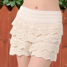 Wholesale Floral High Waist Pants - 2017 New Summer Fashion Womens Solid High Waist Shorts Sweet Style Lace Crochet Elastic Waist Slim Short Pants Plus Size