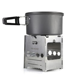 Wholesale outdoor multifunctional portable camping stove Army fans wood gas stove grill combination portable wood stove