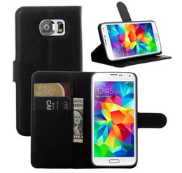Wholesale Galaxy W - For Galaxy S6 Leather Case Litchi Flip Leather Wallet w Card Slots For Samsung G9200 G920F G920 S6 Leather Cases Multi Color